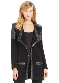 Laundry by Shelli Segal Faux-Leather-Trim Textured Jacket