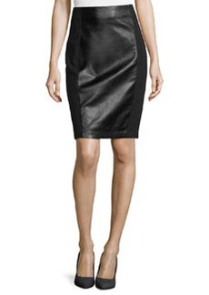 Laundry by Shelli Segal Faux-Leather/Ponte Pencil Skirt, Black