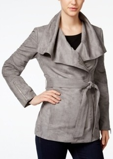 Laundry by Shelli Segal Draped Asymmetrical Belted Moto Jacket