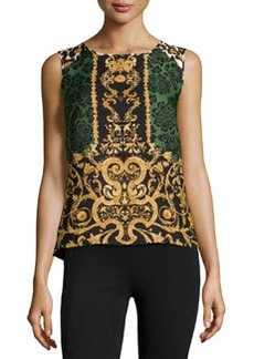 Laundry by Shelli Segal Filigree Floral-Print Combo Top, Olive Multi