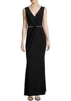 Laundry by Shelli Segal Fitted Gown with Metal Belt, Black