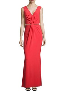 Laundry by Shelli Segal Fitted Gown with Metal Belt, High Risk Red