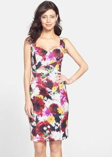Laundry by Shelli Segal Floral Cutout Scuba Sheath Dress