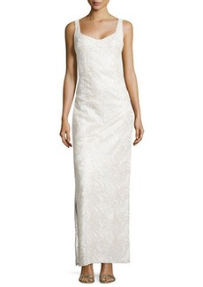 Laundry by Shelli Segal Floral Embroidered & Sequined Gown, Pale Gold