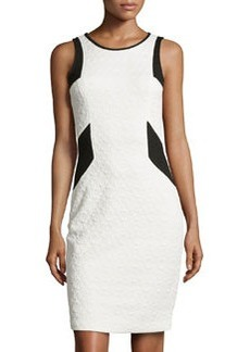 Laundry by Shelli Segal Floral-Jacquard Sleeveless Dress, Warm White/Black