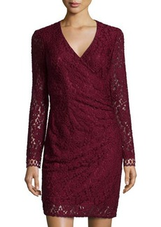 Laundry by Shelli Segal Floral-Lace Long-Sleeve Faux-Wrap Dress