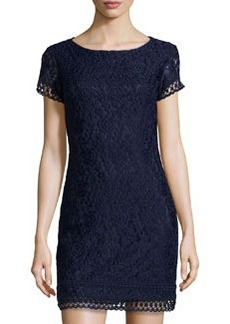 Laundry by Shelli Segal Floral-Lace Short-Sleeve Dress, Inkblot