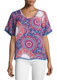 Laundry by Shelli Segal Floral-Medallion Chiffon Blouse, Blue/Multicolor