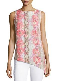 Laundry by Shelli Segal Floral-Print Asymmetric-Hem Tunic, Hibiscus/Multi