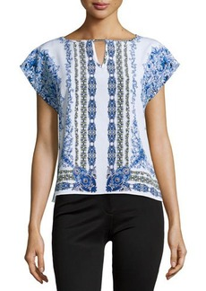 Laundry by Shelli Segal Floral-Print Cap-Sleeve Blouse