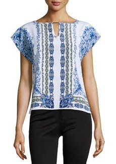 Laundry by Shelli Segal Floral-Print Cap-Sleeve Blouse, Bright Blue/Multi