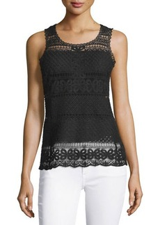 Laundry by Shelli Segal Floral/Diamond Lace Tank