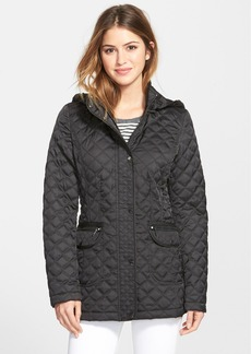 Laundry by Shelli Segal Fly Front Quilted Coat with Detachable Hood