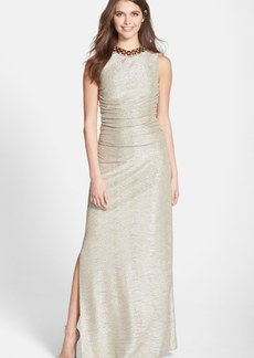 Laundry by Shelli Segal Foiled Knit A-Line Gown