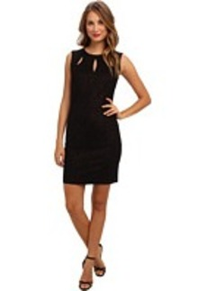 Laundry by Shelli Segal Foiled Ponte w/ Cutout Dress