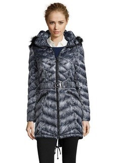 Laundry by Shelli Segal forest green diamond quilted faux fur trim hooded down jacket