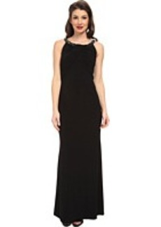 Laundry by Shelli Segal Front Shirred Matte Jersey Gown