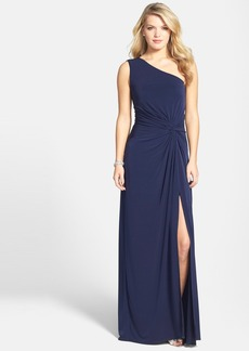 Laundry by Shelli Segal Front Twist Jersey One-Shoulder Gown