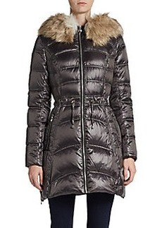 Laundry by Shelli Segal Fur-Faux Trimmed Metallic Puffer Jacket