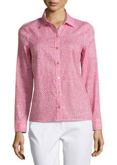 Laundry by Shelli Segal Geo-Print Golden-Button Blouse, Hibiscus/Multi