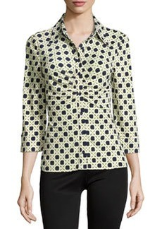 Laundry by Shelli Segal Geo-Print Ruched 3/4-Sleeve Blouse, Citrine/Multi