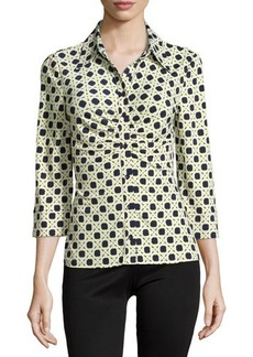 Laundry by Shelli Segal Geo-Print Ruched 3/4-Sleeve Blouse