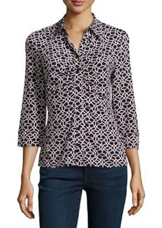 Laundry by Shelli Segal Geo-Print Ruched Jersey Top, Cornstalk/Multi