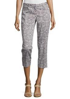 Laundry by Shelli Segal Geo-Print Slim-Fit Capri Pants, Black/Beige/White