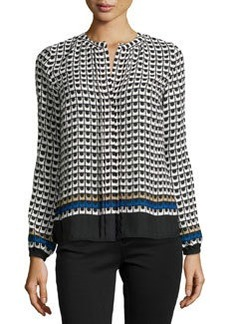 Laundry by Shelli Segal Geometric Check Print Blouse, Oxford Tan/Multi