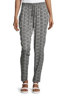 Laundry by Shelli Segal Geometric-Print Drawstring Pants, Black/White