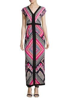 Laundry by Shelli Segal Geometric-Print Maxi Dress, Pink Multi