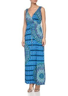 Laundry by Shelli Segal Geometric-Print Maxi Dress, Vibrant Blue Mult