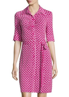 Laundry by Shelli Segal Geometric-Print Shirtdress W/Tie
