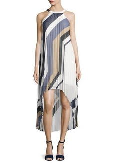 Laundry by Shelli Segal Geometric-Print Sleeveless Pleated High-Low Dress