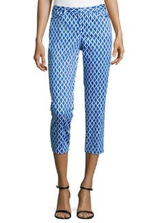 Laundry by Shelli Segal Geometric-Print Slim-Fit Capri Pants, Bright Blue Beret