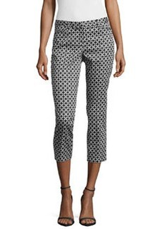 Laundry by Shelli Segal Geometric-Print Slim-Fit Cropped Pants, Black/White