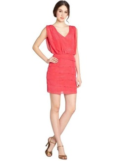 Laundry by Shelli Segal geranium textured drape front v-neck sleeveless dress