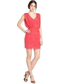 Laundry by Shelli Segal geranium textured drape front v-neck sleeveless dress