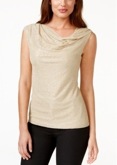 Laundry by Shelli Segal Gold-Metallic Knit Drape-Neck Top