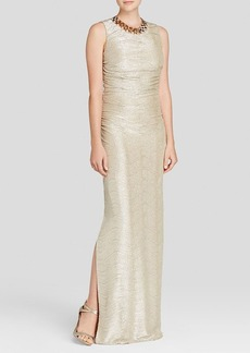 Laundry by Shelli Segal Gown - Necklace Metallic Side Ruched