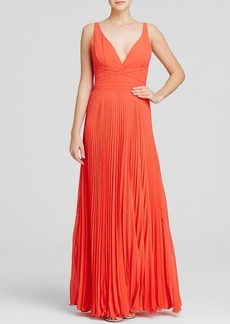 Laundry by Shelli Segal Gown - Sleeveless Deep V-Neck Pleated Skirt