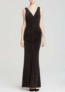 Laundry by Shelli Segal Gown - Sleeveless Metallic Knit Ruched Front