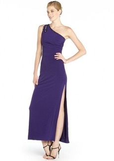 Laundry by Shelli Segal grape jersey shirred beaded one shoulder cutout gown