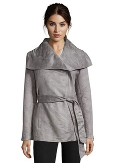 Laundry by Shelli Segal grey faux suede asymmetrical zip jacket