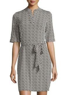 Laundry by Shelli Segal Half-Sleeve Printed Mandarin-Collar Dress