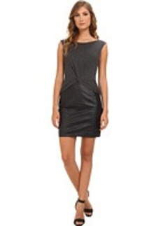 Laundry by Shelli Segal Heather Jersey & Faux Leather Twist Dress
