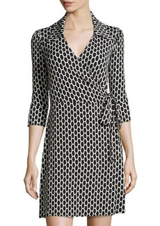 Laundry by Shelli Segal Honeycomb-Print 3/4-Sleeve Wrap Dress