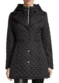 Laundry by Shelli Segal Hooded Bib Quilted Coat