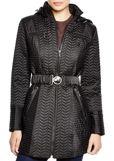 Laundry by Shelli Segal Hooded Chevron-Quilted Zip Jacket