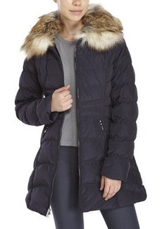 laundry by shelli segal Hooded Faux Fur Trim Down Coat